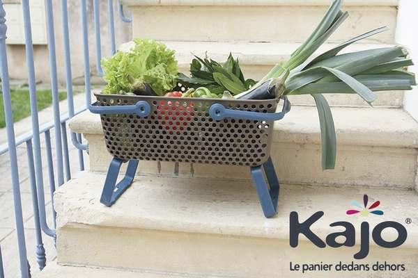 Lot de 3 paniers Kajo 15 L coloris Taupe/Framboise + Taupe/Azur + Taupe/Prune
